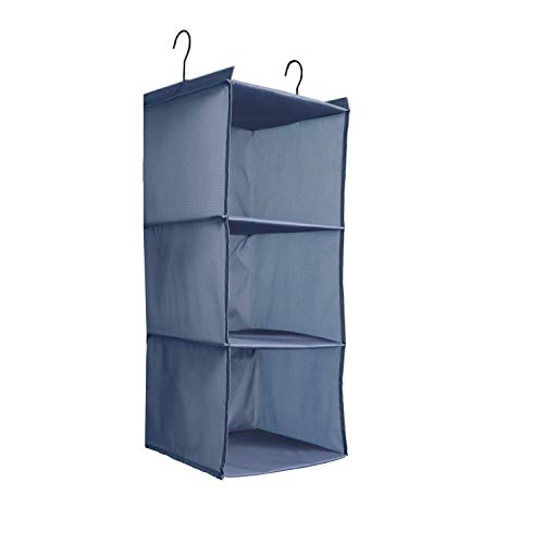 IsHealthy Easy Mount 3-Shelf Hanging Closet Organizer,Collapsible Hanging Closet Shelves Storage Organizer,Clothes Handbag Shoes Accessories Storage, Washable Oxford Cloth Fabric, Gray