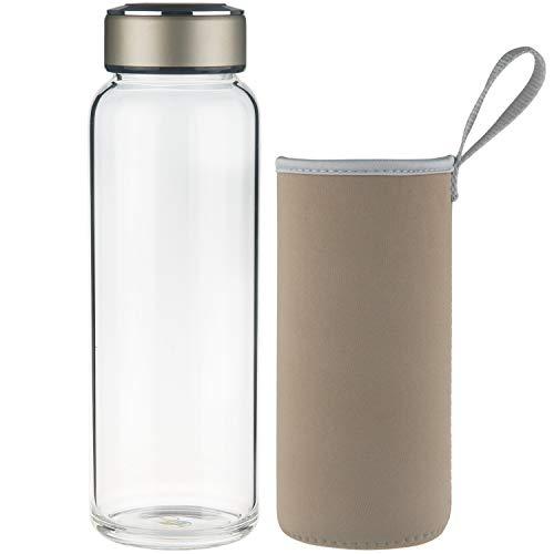 SHBRIFA Botella de Agua de Vidrio de Borosilicato Deportivo 1000ml, Botella de Agua de Cristal con Funda de Neopreno y Tapa de Acero Inoxidable a Prueba de ...