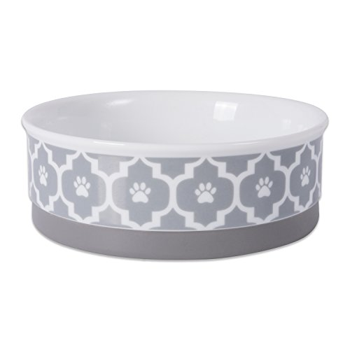 "DII Bone Dry Lattice Ceramic Pet Bowl for Food & Water with Non-Skid Silicone Rim for Dogs and Cats (Medium - 6"" Dia x 2""H) Gray"
