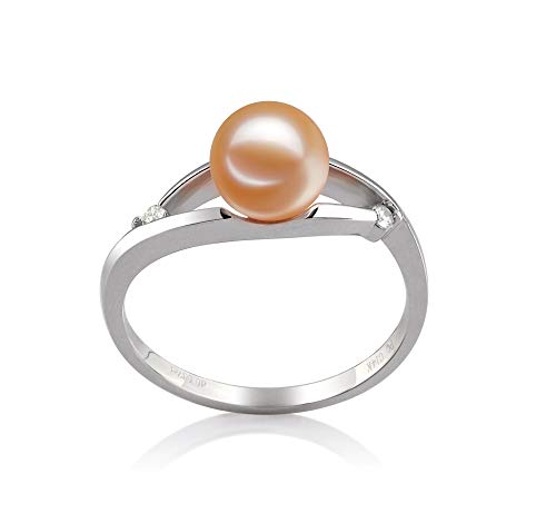 (Tanya Pink 6-7mm AAAA Quality Freshwater 14K White Gold Cultured Pearl Ring For Women - Size-7)