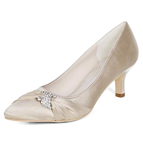 Elobaby Women Wedding Shoes Silk Spring Fall Summer Satin Peep Toe High Heels Pointed Toe Ivory (6CM Heel), Champagne, ()