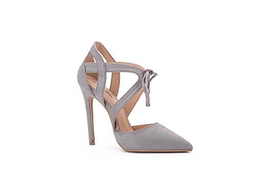 Mila Lady Nydia Dorsay Classico Pizzo Caviglia Strappy Eleganza Piattaforma Tacchi Donna! Grigio