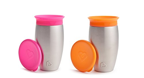Munchkin Miracle Stainless Steel 360 Sippy Cup, 10 Ounce, 2 Pack - Pink/Orange
