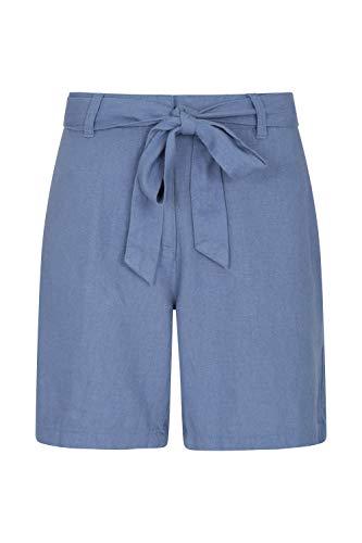 Mountain Warehouse Ocean Linen Blend Womens Shorts - Summer Pants Blue 12 ()