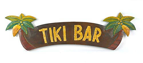 "SWQAA Tiki bar Sign 20"" x 5"" handcarved & Painted Wood Tiki bar with Palm Trees Wall Decor Sign! Tiki Statue Home decore Ornaments"