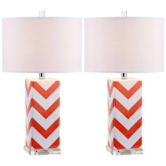 Safavieh Lighting Collection Chevron Stripe Table Lamp, Orange, Set of (Lamp Stripes Table Lamp)