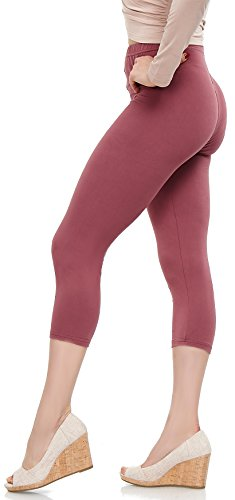 Mulberry Color - LMB Lush Moda Extra Soft Capri Leggings - One Size - Variety of Colors - Mulberry
