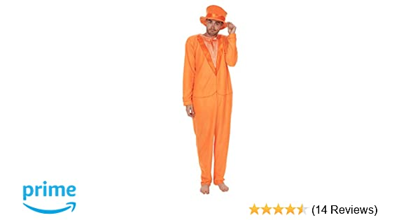 Dumb and Dumber Adult Orange Tuxedo One Piece Pajama with Top Hat