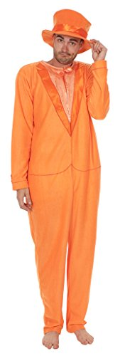 Dumb and Dumber Orange Tuxedo One Piece Pajama with Top Hat (Adult Small) -