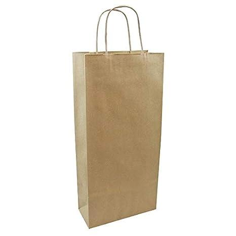 Cavibox Sacs Papier Kraft 2 Bouteilles avec poignées torsadées. Conditionés par 200