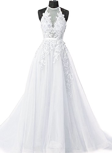 Fanciest Women's Halter Prom Dresses Long 2019 Appliques Backless Evening Formal Dress White US2 ()