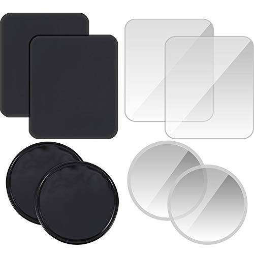 TecUnite 16 Pieces Sticky Gel Pads Anti-Slip Gel Wall Sticker Non-Slip Gel Mat Sticky Auto Gel Holder for Cellphone, Pads, Keys, Round and Rectangle Shape (Clear and Black)