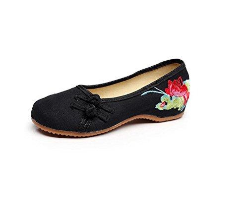 Femmes Lazutom Dame Cru Broderie Style Chinois Omfortable Vieux Chaussures De Marche Danse Pékin Noir