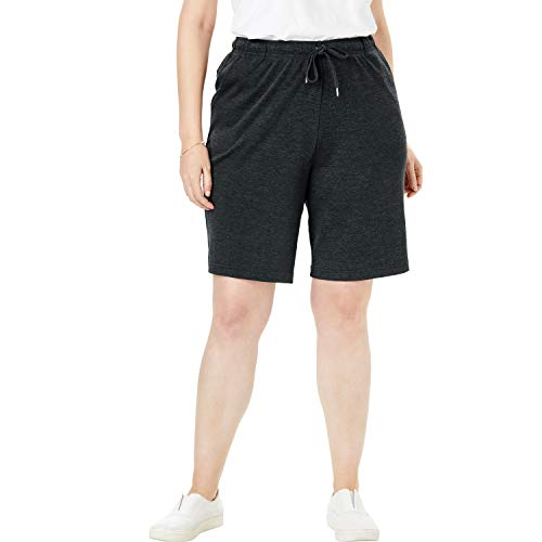Woman Within Women's Plus Size Sport Knit Short - Heather Charcoal, L (Knit Pocket Shorts)