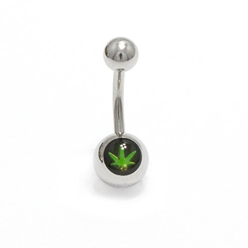 Belly Ring 14G Surgical Steel Rainbow and Pot Leaf Logo Navel Body Jewelry 11mm (Black Background Pot Leaf) ()