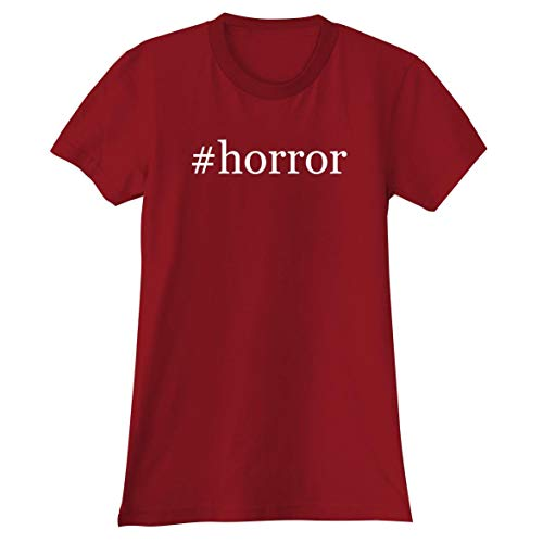 #Horror - A Soft & Comfortable Hashtag Women's Junior Cut T-Shirt, Red, X-Large (Junior Horror Vhs)