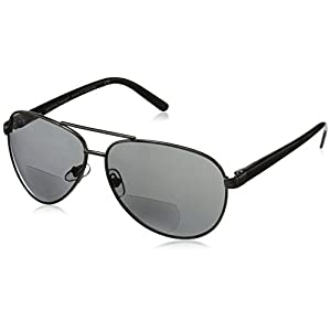 Foster Grant Men's Command 1017553-125.COM Aviator Reading Glasses, Gunmetal, 1.25