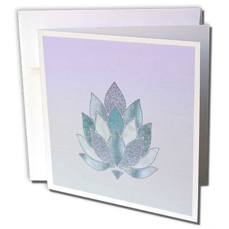 3dRose Andrea Haase Graphic Art - Abstract Lotus Flower Ornament in Blue and Turquoise - 12 Greeting Cards with envelopes (gc_293848_2) ()