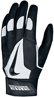 Nike GB0335 Diamond Elite Pro II Batting Gloves - Black/White - Over Baseball Diamond