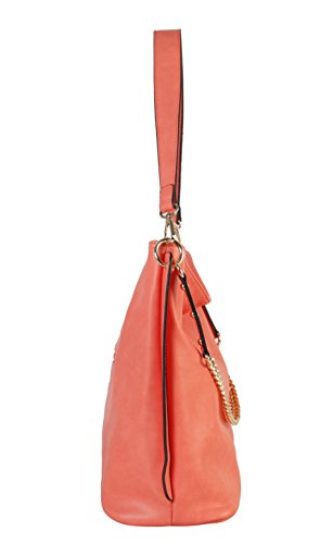 Strap Bag Coral PU Diophy Chain Hobo Decoration Leather 7qSwpv
