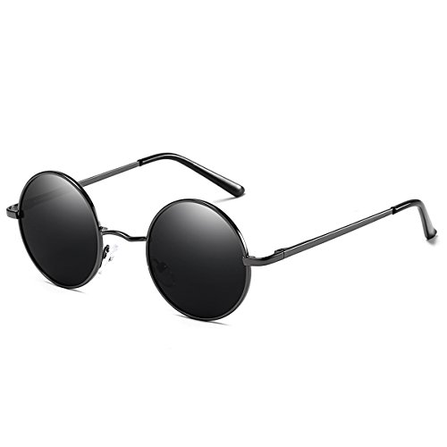 FEIDU Polarized Vintage Sunglasses for man Retro round sunglasses Unisex FD3013 (Black/Black, - Facebook Sunglasses Face
