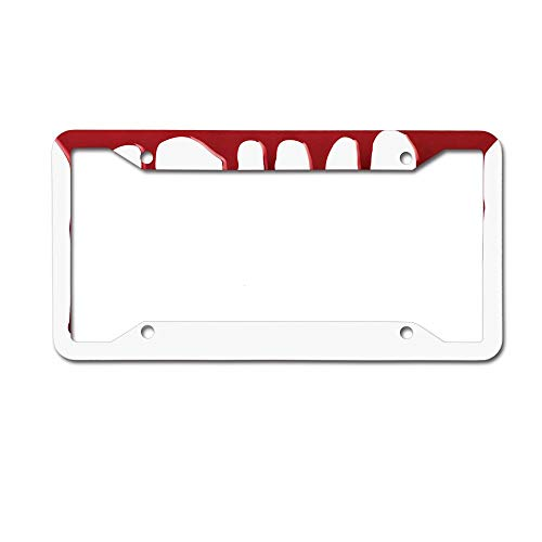 Dinzisalugg Custom Aluminum Metal License Plate Frame Tag Holder Cute,Flowing Blood Horror Spooky Halloween Zombie Scary Help Me Phrase Themed Illustration License Plate Frame 4 Holes and Screws