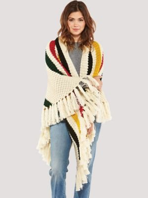 Pendleton Women's Chunky Fringe Wrap, Glacier Park Stripe, One Size by Pendleton