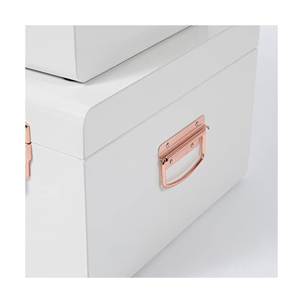 Beautify Cream Vintage Style Steel Metal Storage Trunk Set Lockable and Decorative with Rose Gold Handles - College Dorm…