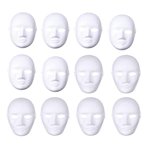 BESTOYARD 12pcs Full Face Mask Halloween Mask White DIY Mask Dance Cosplay Masquerade Party Mask (6pcs Male and 6pcs Female) -