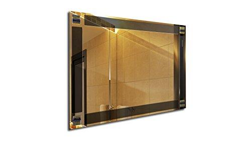 MirrorsHome | Handmade Wall Mounted Rectangle Framed Bathroom Modern Stripe Fused Glass Mirror 31.inch X 22.inch