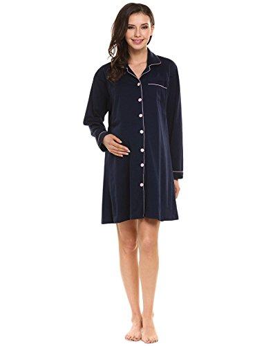 Ekouaer Maternity Nursing Nightgown Night Dress for Labor/Delivery/Nursing/Breastfeeding Hospital
