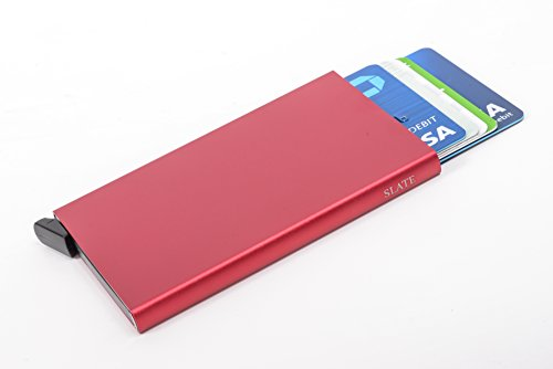 Blocking With Holder Credit RFID cash Money Mini Leather Card Genuine Red Wallet qApSvBA