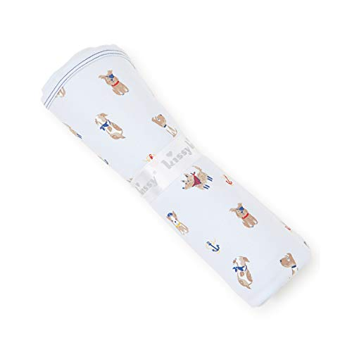 Kissy Kissy Baby Boys Infant Salty Dogs Print Receiving Blanket-Blue-One Size