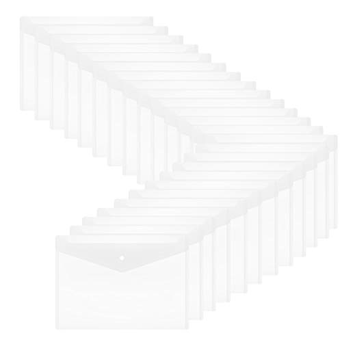 Plastic Envelopes with Snap Closure - 24Pack Clear Poly Envelopes Folders Plastic Folders Premium Quality Document Folder A4