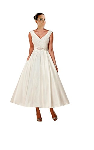 Mollybridal V Neck Wedding Dresses Tea Length Pleated Beaded Sequined Satin Short Ivory 20 - Tea Length Sequined Dress