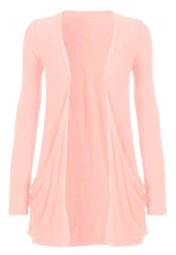 Hot Hanger Ladies Plus Size Pocket Long Sleeve Cardigan 16-26 (16-18 LXL, Nude)
