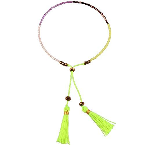KELITCH Hand Woven Multicolor Tassel Single Wrap bracelets Beaded Friendship Bracelets (Green)