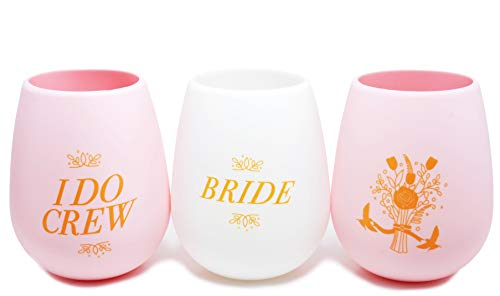 Bachelorette Party I DO CREW 7 Pack, Bridal Shower, Wedding Favor Silicone Wine Cups | 6 Pink, 1 White BRIDE | Stemless | Decorations, Party Supplies (Pink)
