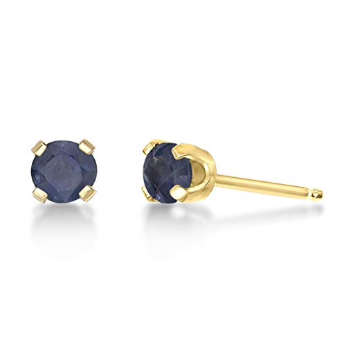 - .68 CT Round 4MM Blue Sapphire 14K Yellow Gold Stud Birthstone Earrings
