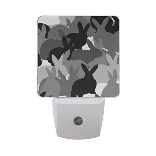 - Printing Watercolor Rabbit Patterns on Plug-in LED Night Light Warm White Nightlight for Bedroom Bathroom Hallway Stairways(0.5W 2-Pack)