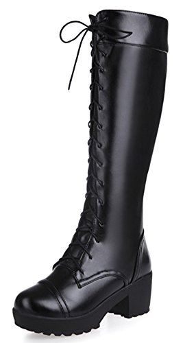 Diffyou Womens Lace Up Chunky Heel Military Riding Knee High Boots Black upDbvWBi
