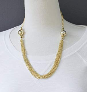 Gold multi strand necklace chain link 8-strand bead collar 20-22 - Strand Link Chain