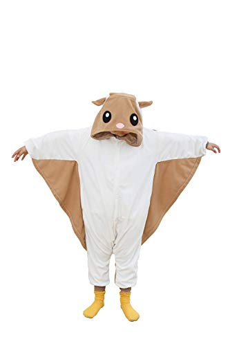 kuki Kids Cosplay Costumes Pajamas for Girls Flying Squirrel Onesie Birthday Gifts(8-10 Years)]()