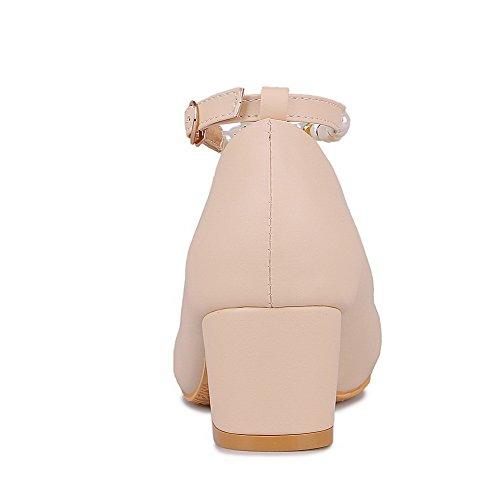 Mittler Weiches Material AllhqFashion Pumps Rein Rund Zehe Schuhe Damen Cremefarben Absatz Schnalle t76xFw5qx