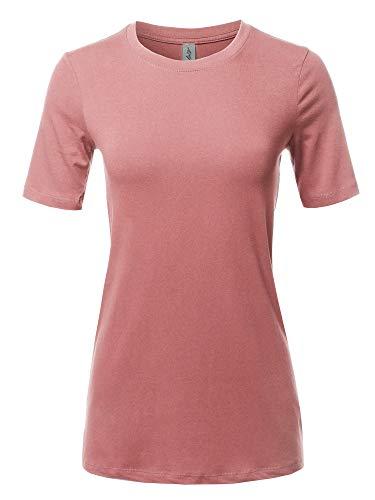 (Basic Solid Premium Cotton Short Sleeve Crew Neck T Shirt Tee Dusty Rose 1XL)