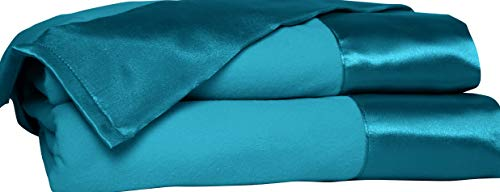 (Hebel Shavel All asons Year Round Sheet Blanket with Satin Hem, Twin, Teal | Model BLNKT - 10 | 00Twin)
