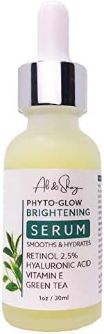 Anti Aging Facial Serum - Retinol 2.5% & Hyaluronic Acid - Dark Spot, Pigmentation, Redness & Acne Corrector - Face Moisturizing with Antioxidant Green Tea + Vitamin E + Aloe - Natural & Organic- 1oz