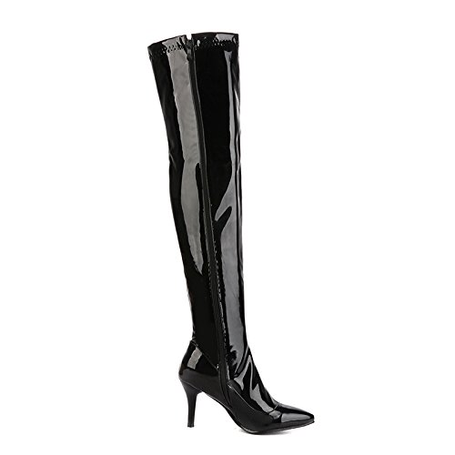Boots Heels Stilettos Knee Thigh Pumps Shiny The Boots Zip Black Toe High Over Rongzhi Pointed Womens 1fwxf4
