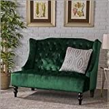 Leah Traditional Tufted Winged Emerald Velvet Loveseat