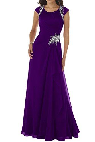 Rundkragen Lang Festkleid Violett A Ballkleid Chiffon Abendkleid Ivydressing Modisch Linie Damen wTqfSRA